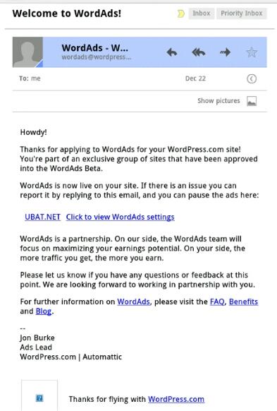 email dari pihak wordpress.com